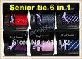 Lazo superior Gift Set 6 en 1 (1 Lazo 1 Pañuelo + 1 clip de Corbata 2 Gemelos + caja de regalo) para asuntos de Negocio/Cena/Fiesta envío libre