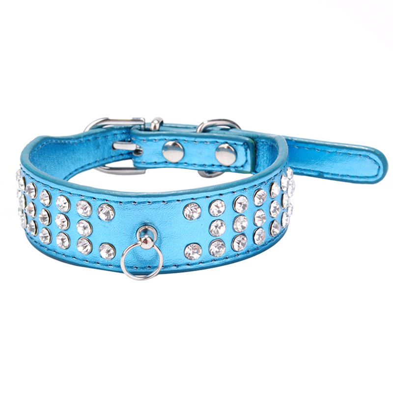 Small Puppy Cat PU Leather Adjustable Necklace Pet Dog Bling Crystal Collar XS S Best