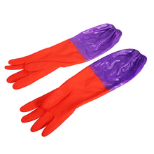 Rubber Latex Dish Washing Gloves Hand Protective Cleaning Mittens Long Gloves Household Kitchen Glove JK0553