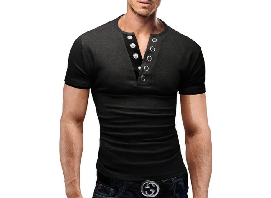 Men'S T Shirt 17 Summer Fashion V-Neck Short-Sleeved Tees Male Camisa Masculina T-Shirt Slim Male Tops XXL 6 colors 5