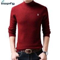 2018 Новый 100% шерсть Для мужчин зимний свитер мужской толстый теплый pullver Твердые вязаный свитер удобные Высокое качество, Большие размеры pq204