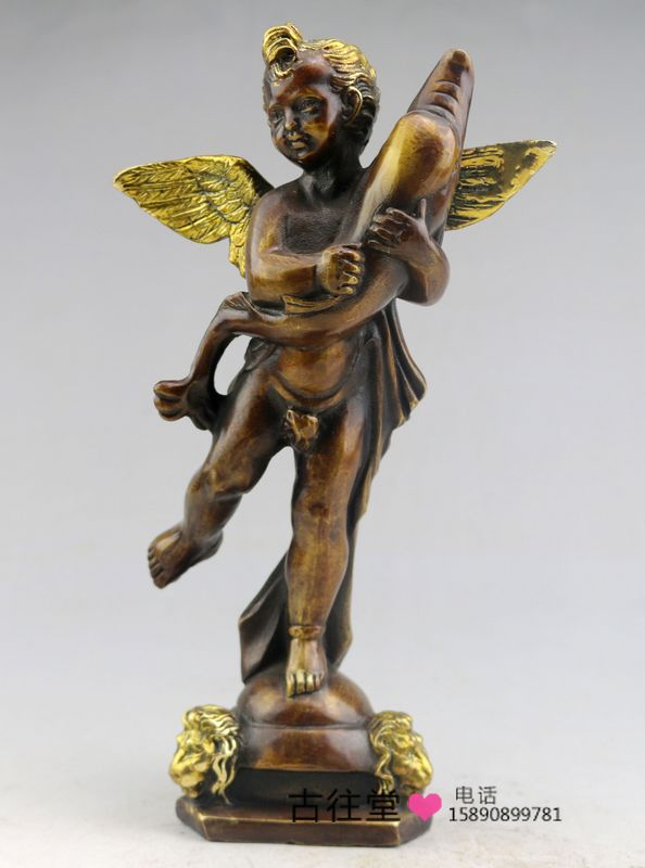 Antike Antiken Bronze Sammlung Messing Skulptur Engel Halten Dolphins Wohnzimmer Eingerichtet Heimtextilien DekorationChina