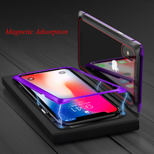 Tempered Glass Case with Magnetic for iphone X iphonex Adsorption Metal Cover 8 plus 7 Shell