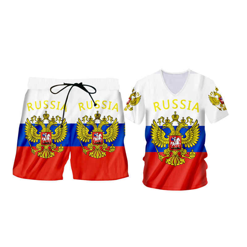 Custom S-6XL Mens Russia T-shirt Shorts Summer 2 Piece Sets Fashion 3d Russian eagle Flag print Fitness Tank Tops Shorts Outfits