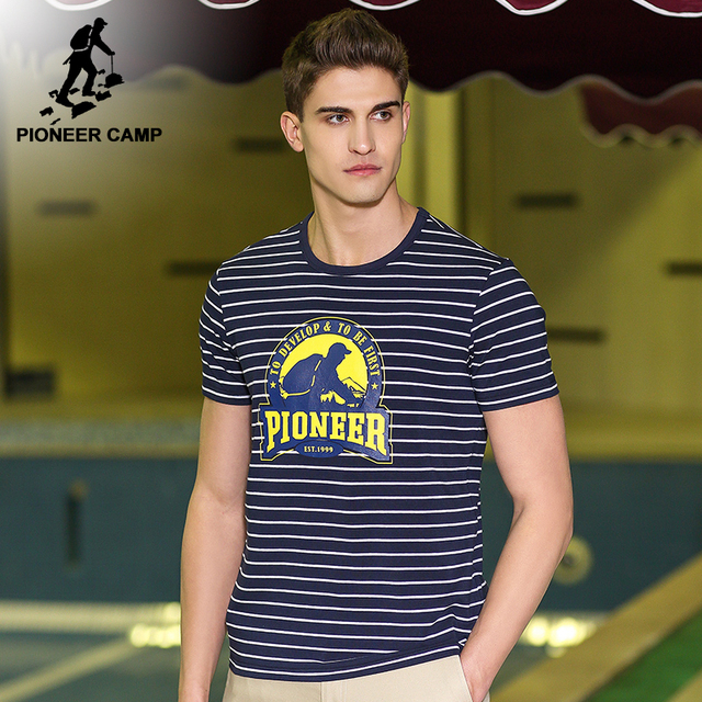 75d4e95e47 Pioneer Camp New design short T-shirt men brand clothing fashion striped T shirt  male top quality casual Top tees ADT701101