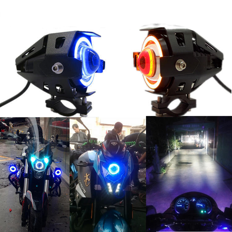 1 pc 125 w U7 חנות אופנוע עיני מלאך פנס DRL זרקורים עזר בהיר LED אופניים מנורת אביזרי רכב ערפל אור