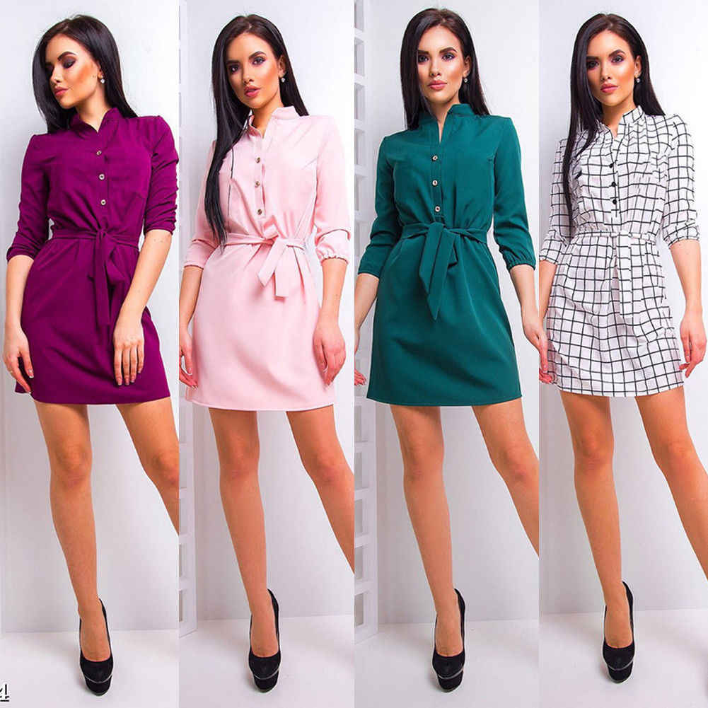 Fasion UK Womens Stand Collar Loose Casual Dress Elegant Waist Band Beach Party Dresses