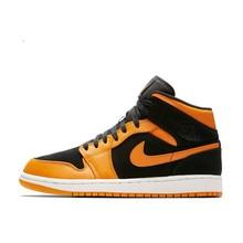 check out 488d6 45563 Nike Air Jordan 1 De AJ1 Original auténtico negro amarillo Joe zapatos de  baloncesto de los hombres zapatillas de deporte al air.