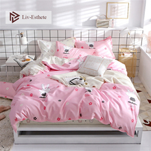 Liv-Esthete Cute Rabbit Cartoon Pink Bedding Set High Quality Soft Duvet Cover Pillowcase Bed Linen Fitted Sheet For Girl Gift