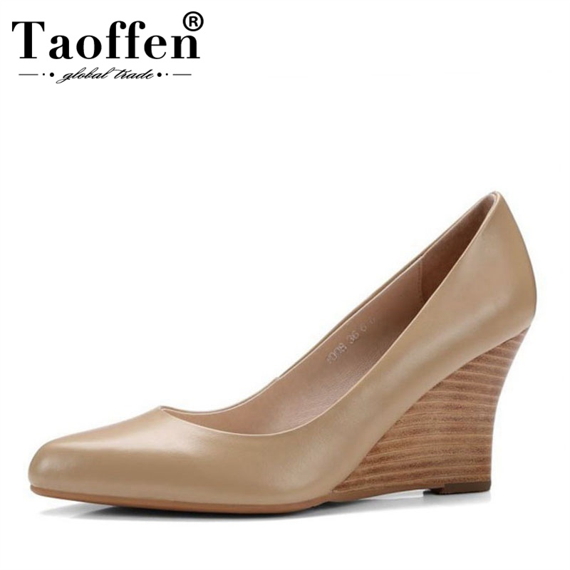 Taoffen Women Genuine Leather High Heel Shoes Classic Pointed Toe Slip On Pumps Summer Office Lady Shoes Women Size 34-39Taoffen Women Genuine Leather High Heel Shoes Classic Pointed Toe Slip On Pumps Summer Office Lady Shoes Women Size 34-39