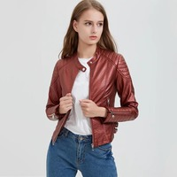 Steelsir Female Spring Red Black Plus Size Patchwork Women Faux PU Leather Jackets Women S Winter