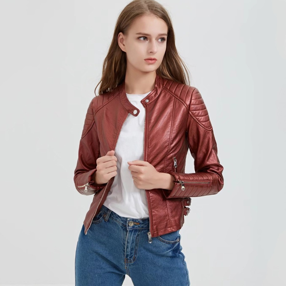 steelsir Female Spring Red/Black Plus Size Patchwork Women Faux PU   Leather   Jackets Women's winter Motorcycle   Leather   Biker Coat