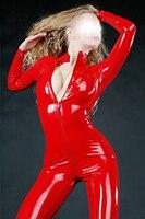 Fashion women Red sexy latex bodysuit gummi 0.4mm fetish Longseelve women's straightjacket plus size Jumpsuit
