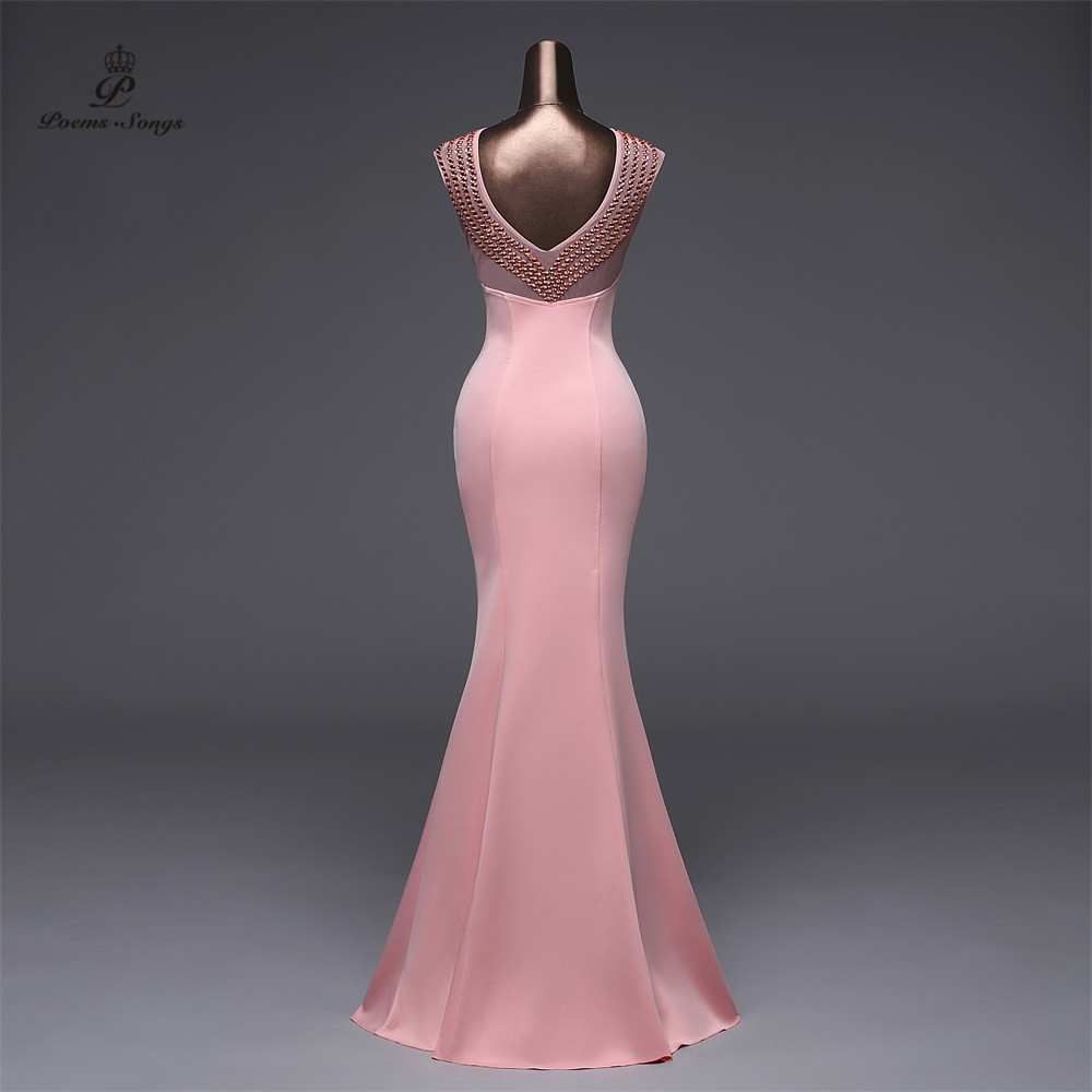 Poems Songs2019 Backless Pink Evening dress luxury Prom Formal Party dress vestido de festa Elegant Vintage robe longue