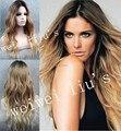 Ombre peruca LONGA Loira com raízes escuras PERUCA SUPERIOR DA PELE Ondulado Top Quality Novos penteados tendências para 2016 frete grátis