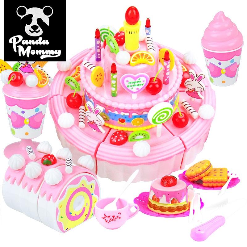 39-103Pcs DIY Cake Cutting Fruit Birthday Cake Kitchen Food Educational Toys For Girls Gift Children