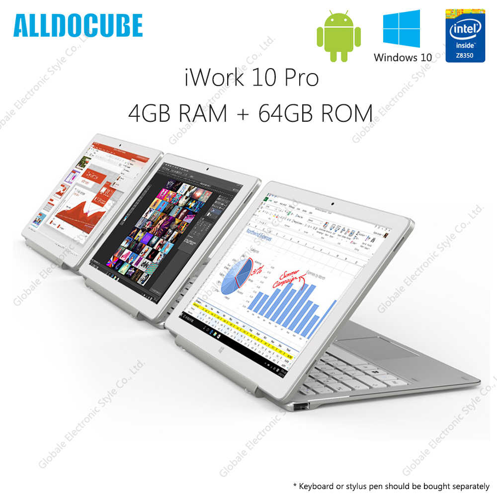 Alldocube IWork 10 Pro 2 Dalam 1 Tablet dengan Keyboard 10.1 Inch Windows 10 Android 5.1 Intel Atom X5- z8350 4 GB RAM 64 GB ROM