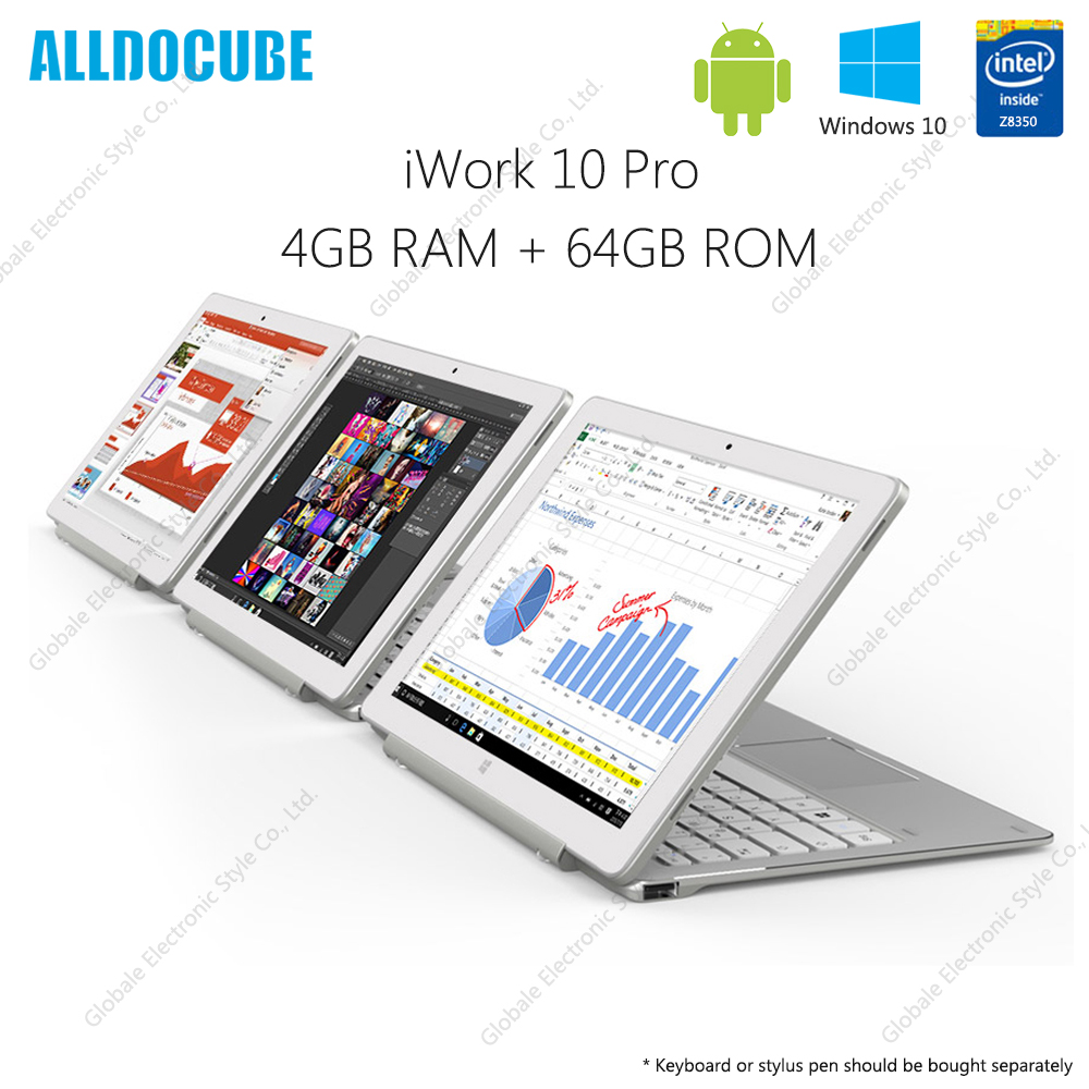 ALLDOCUBE iWork <font><b>10</b></font> Pro 2 in 1 <font><b>Tablet</b></font> with Keyboard <font><b>10.1</b></font> inch <font><b>Windows</b></font> <font><b>10</b></font> Android 5.1 Intel Atom x5 - Z8350 4GB RAM 64GB ROM image