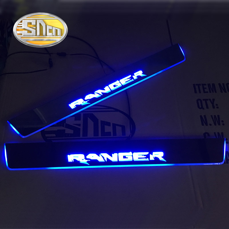 SNCN 4PCS Acrylic Moving LED Welcome Pedal Car Scuff Plate Pedal Door Sill Pathway Light For Ford Ranger 2015 2016 2017 2018 fsylx led door moving scuff welcome pedal door sill plate light for audi q3 2013 2015 white led pedal light for q7 2006 2015