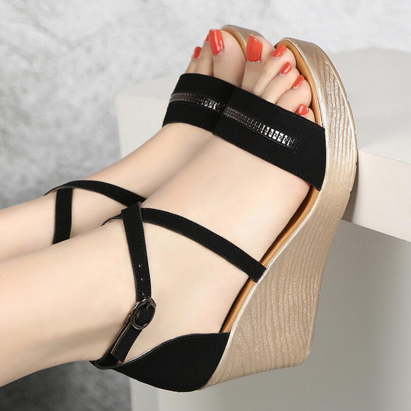 D&Henlu Plus Size Shoes41 42 43 Ladies Sandals 2019 Summer Shoes For Woman Sandals With Heels Platform Women Shoes Wedge Heels