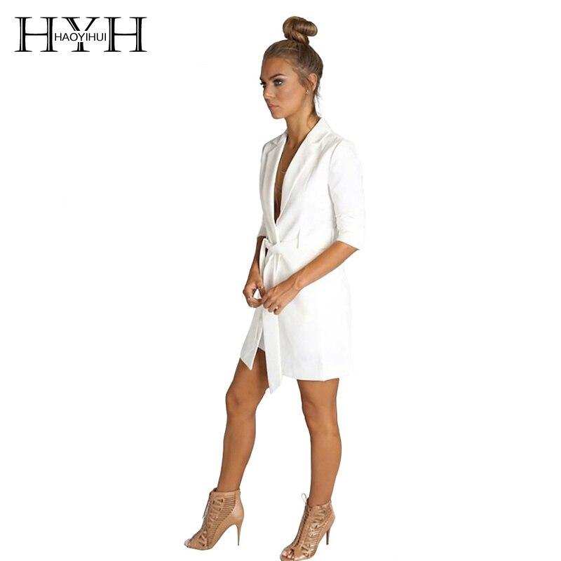 Blazer Hyh Haoyihui Marke Solide Weiß Farbe Gürtel Kerb Damen Langarm Anzug Elegante Mantel Büro Frauen Herbst Dünner Blazer Direktverkaufspreis Anzüge & Sets