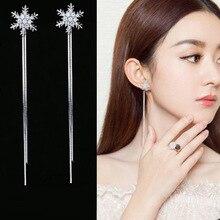 Fashion Novelty Silver Crystal Snowflake Earrings For Women Long Tassel Chains Rhinestone earrings Earings Girls Jewelry Gift