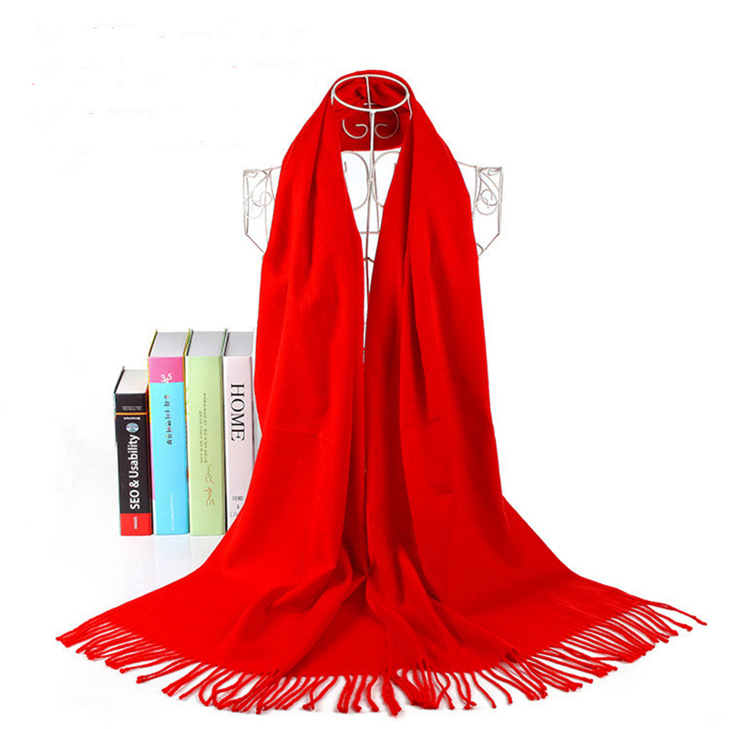 AudWhale Winter Cashmere Scarf For Women Cape Femme Solid Red Tassel Fashion Pashmina Shawl For Women Female Winter Warm Scarves