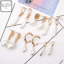 XZP New Classic Gold Bohemian Earrings For Women Big Wedding Irregular Freshwater Pearl Jewelry Brincos Geometric Earring Gift