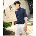 Новое прибытие 2017 высокое качество классический саржа деловых мужские рубашки с длинным рукавом отложным воротником плюс размер 3xl рубашка C362