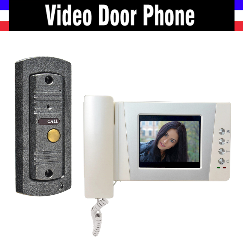 4.3 LCD monitor video doorbell door phone system video interphone kits IR Night Vision pinhole Camera video intercom for home diysecur 7inch video door phone doorbell video intercom metal shell camera led night vision 1 monitor black for home office