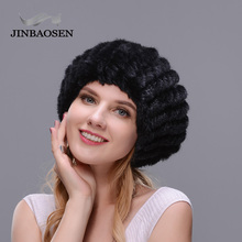 c0a21e267f97a JINBAOSEN 2018 Winter travel fur hat beret mink fur knit inner cap fox fur  ball woman