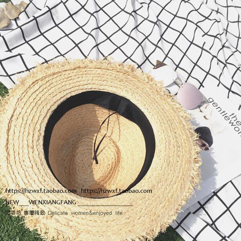 Women Lafite Straw Hat Adult Unisex Chapeu Masculino Summer Sun Hats Gorra Hombre Fedora Vintage Cap 2017 New Style in Men 39 s Sun Hats from Apparel Accessories