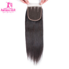 Аманда кружева закрытия бразильские прямые волосы с волосами младенца натуральные волосы 4 ''x 4'' часть Реми 8-22 дюймов