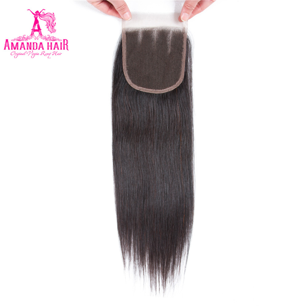 Amanda Lace Closure Brazilian Straight Hair With Baby Hair 100% Human Hair 4''x 4'' Free Part Remy 8-22 Inch Free Shipping