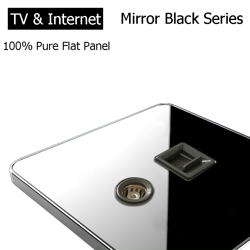 Coswall Brand RJ45 Internet Socket Luxury Wall Network Outlet With TV Jack Acrylic Crystal Mirror Panel