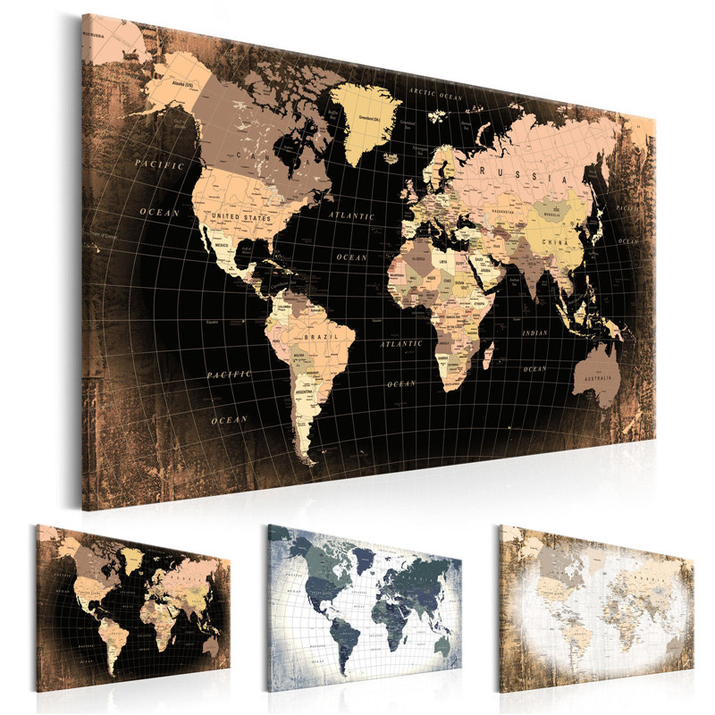 Modern Wall Art Single Pieces Decoration Canvas Painting World Map With Meridian And Parallel Office Living Room Poster Decor