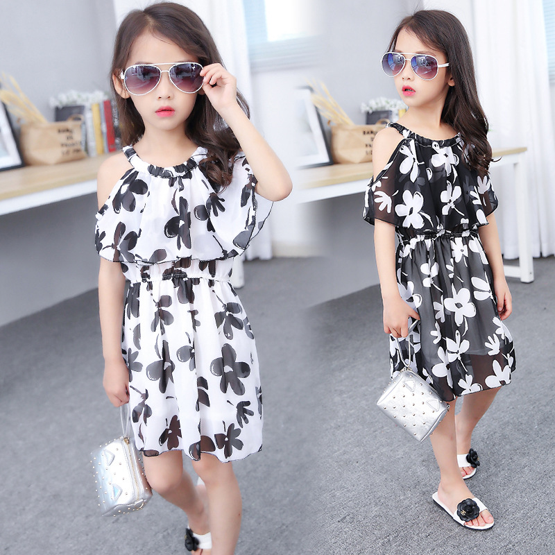 Summer Girl Dress Cotton Casual Children Clothing Girl sling chiffon princess dress Girl with black and white dress 4-12 years girl