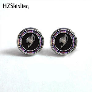 Studs Earrings Jewelry Guild-Marks Glass Fairy-Tail Ear-Nail Anime NES-006 Post-Hz4 Cabochon