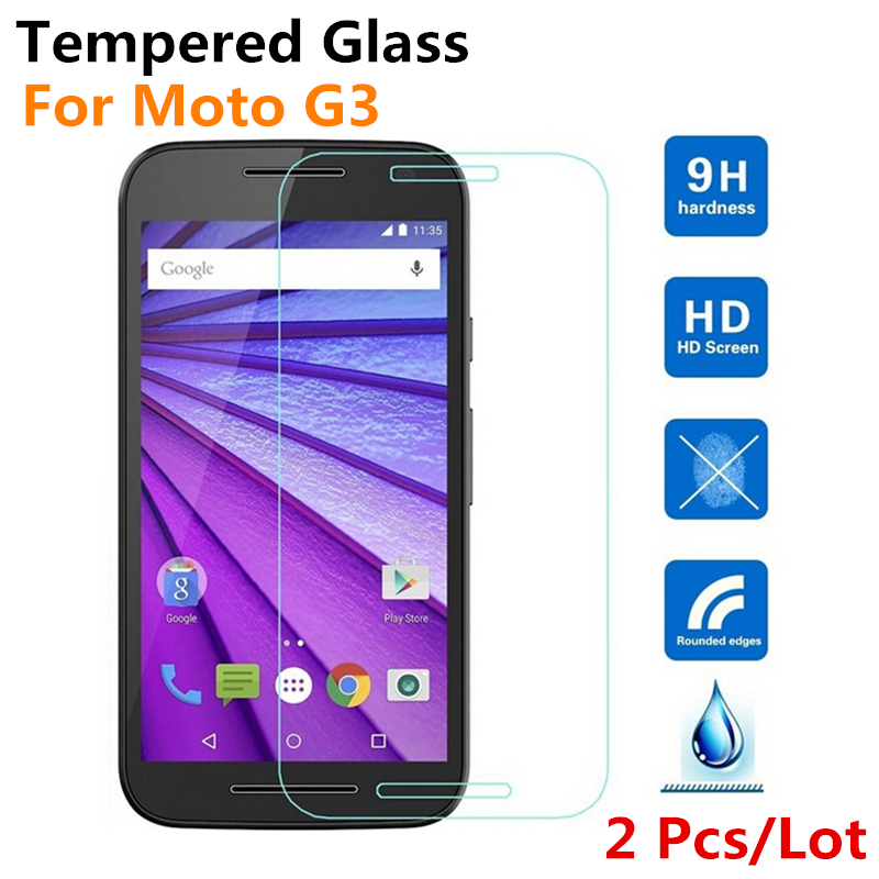 Tempered Glass For Motorola Moto G3 3rd Gen 2015 G 3 Screen Protector New HD Clear Front Guard Protective Film, + Retail Package