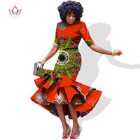 2017 African Dresses For Women In African Clothing Fashion Slim Fashion Fold Dresses Bazin Riche Pintted