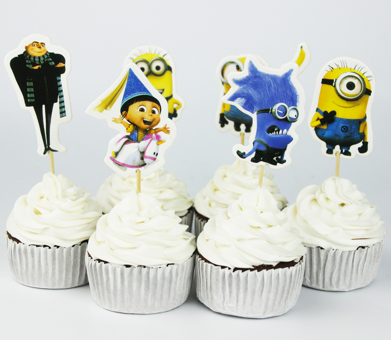 72pcs Cartoon Minions Topper Despicable Me Cupcake Toppers Pick Baby