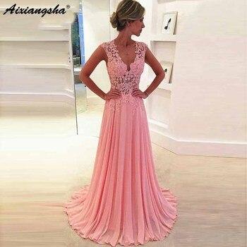 A-line Lace 2019 Pink Evening Dresses Appliques Party Prom Dress Formal Occasion Bridemaid Dresses Custom Made vestido de noche