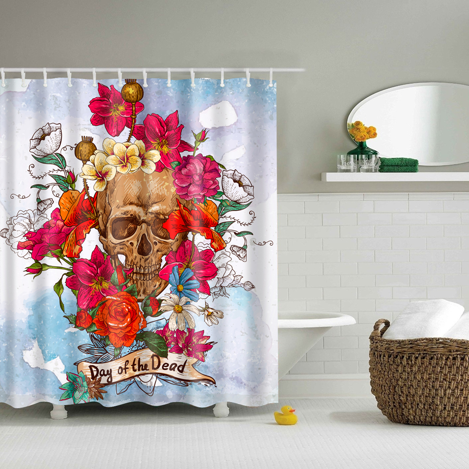 Sugar Skull Bathroom Decor Online Get Cheap Skull Shower Curtain Hooks Aliexpresscom