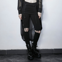 Punk Black Fake Two Pieces Lace Up Wild Pants Steampunk Teen Girls Personality Trousers Fashion Casual