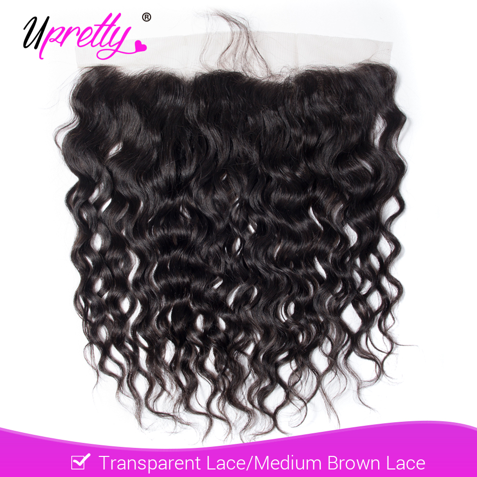 Upretty 13x4 HD Transparent Lace Frontal Brazilian Water Wave Remy Human Hair PrePlucked Lace Frontal Closure With Baby Hair
