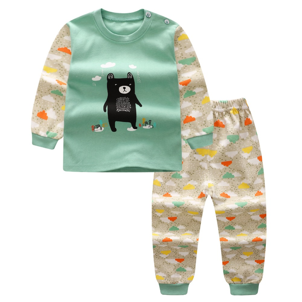 2017 New Infant Baby Girl/boys Sleep Clothing Set Children Cute Cartoon Pajamas Suit Newborn Kids Soft Cotton Underwear 2015 new arrive super league christmas outfit pajamas for boys kids children suit st 004