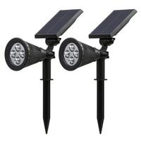 2 Pcs Solar Spotlights 4 LED Landscape Solar Lights Outdoor Waterproof Garden Lawn Lamp ALI88