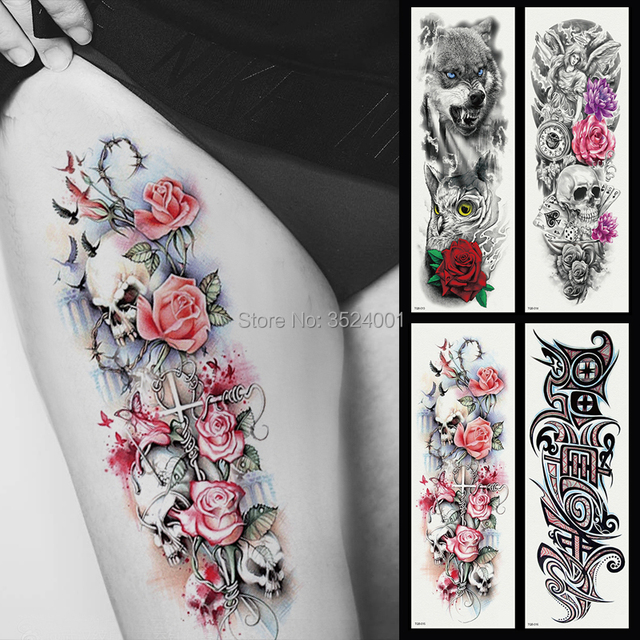 Big Size Temporary Flash Tattoo Sticker Wolverine  Flower Clock Eyes For Men And Women Full Arm Fake Tattoo  Body Art 17x48cm
