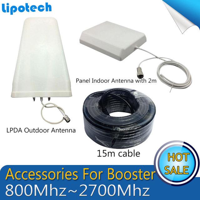 800 ~ 2700 mhz log-periódica Antena Panel de Antena de interior Al Aire Libre 15 m de cable Accesorio para UMTS GSM Móvil Amplificador de Señal de Teléfono celular