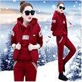 2017 Спортивный костюм Молодых женщин одежда из трех частей толстые Мода новый Добавить шерсть студент досуг одежду зимой B0166